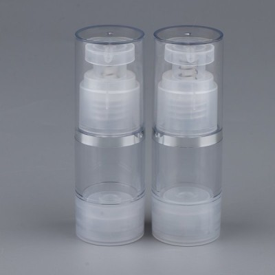 2本の空のエアレス真空ポンプボトル旅行化粧品容器15ミリリットル