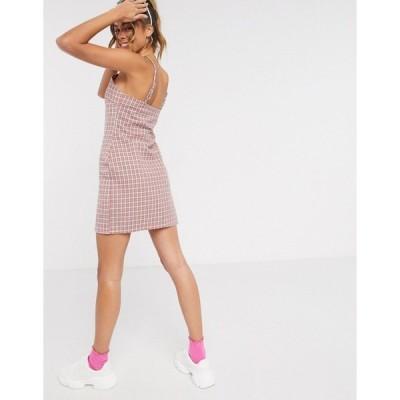 ハートブレイク レディース ワンピース トップス Heartbreak square neck tailored cami dress in pink and gray check Pink/gray