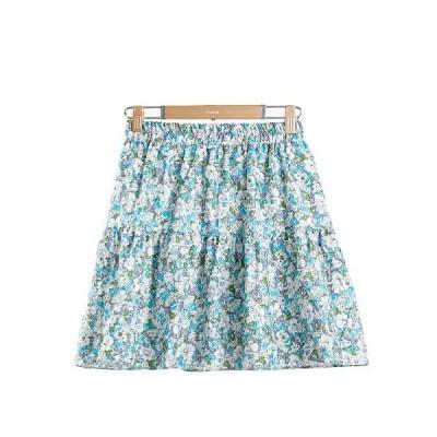 大人 女の子 フレアスカート aライン ショートスカート 花柄 花びら 小柄 田園風 裏地あり 着痩せ カラフル 花畑 可愛い ゆったり ハイウエスト