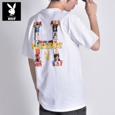 HUF PLAYBOY コラボ Tシャツ メンズ ブランド ハフ プレイボーイ Wネーム 半袖 フォトプリント ティーシャツ ラビットヘッド ロゴ プレイ