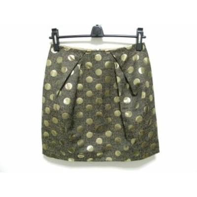 ビアズリー BEARDSLEY スカート サイズ1 S レディース 美品 - ブロンズ×ゴールド ひざ丈/ドット柄【中古】20200422