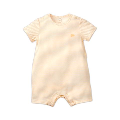 麗嬰房 嬰童冰牛奶條紋短袖遊戲褲-橙色 (6M/12M/18M/24M)