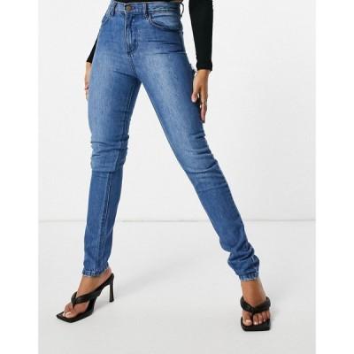 フェム リュクス Femme Luxe レディース ジーンズ・デニム ボトムス・パンツ Straight Leg Jean With Distressed Bum Detail In Mid Wash ブルー