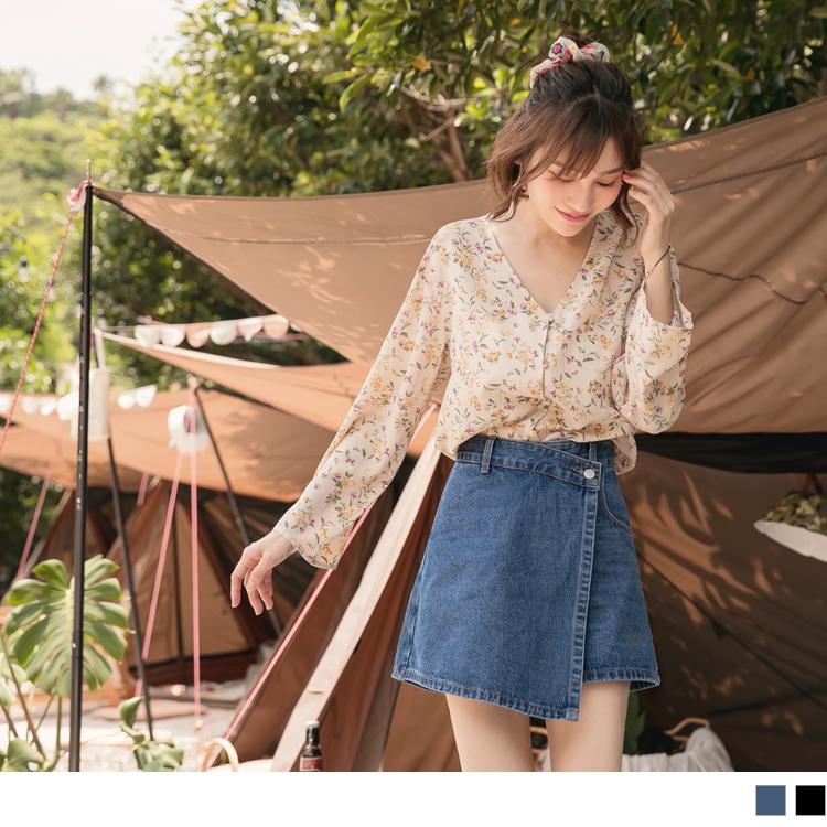 高含棉不對稱裙片設計水洗牛仔褲裙