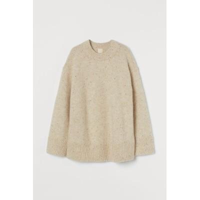 H&M - ウールブレンドセーター - ベージュ