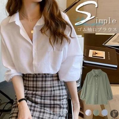 ブラウス シンプル トップス ゴム袖口 レディースシャツ 着痩せ 新作 ゆったり レディースファッション