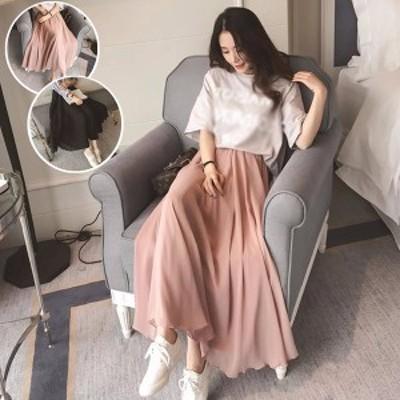 プリーツ スカート シフォン 大きいサイズ ブラック ピンク レディース 着痩せ効果 着心地抜群で 美脚ラインも綺麗 k5179zezex2