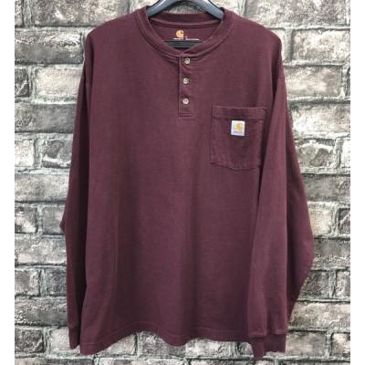 USA古着 カーハート L 長袖 Tシャツ ロンT 胸ポケット ロゴ ヘンリーネック ボルドー アメリカ古着