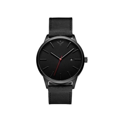 SlideBelts Brig Taylor Classic Mens Watches - 45 MM Analog Watch with Leather Band - Raven 並行輸入品