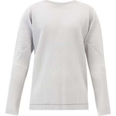 イッセイ ミヤケ Homme Plisse Issey Miyake メンズ 長袖Tシャツ トップス Brushstroke-print technical-pleated T-shirt Grey
