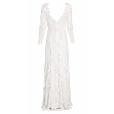 ワンピース マルケッサ  Marchesa Notte Illusion Sequined lace Embroidered Ivory Dress Gown 8