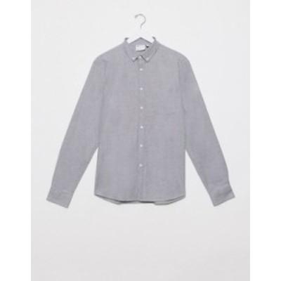 エイソス メンズ シャツ トップス ASOS DESIGN slim fit organic oxford shirt in charcoal yarn dye Charcoal