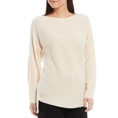 レバ レディース パーカー・スウェット アウター Lyndsey Bateau Neck Hi-Low Hem Long Sleeve Ribbed Tunic Sweater