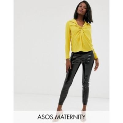 エイソス レディース カジュアルパンツ ボトムス ASOS DESIGN Maternity spray on vinyl over the bump pants Black
