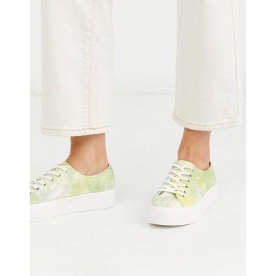 バガボンド レディース スニーカー シューズ Vagabond Peggy tie dye flatform sneakers in yellow Lime multi