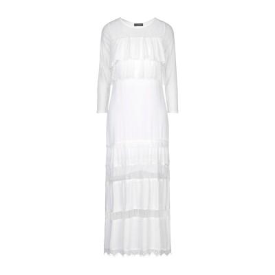 SOALLURE ロングワンピース&ドレス ホワイト 40 レーヨン 100% / ポリエステル / ポリウレタン ロングワンピース&ドレス