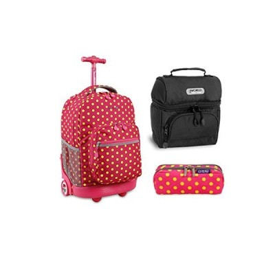 J World New York Sunrise Rolling Backpack Back To School Set w/Pencil Case & Lunch Bag (Pink Buttons) 並行輸入品
