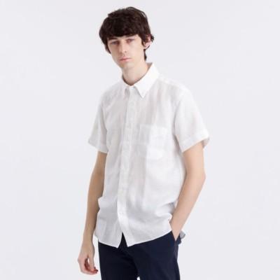 リネンシャンブレー半袖シャツ