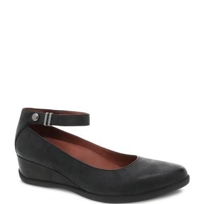 ダンスコ レディース パンプス シューズ Shaylee Ankle Strap Waterproof Leather Wedge Pumps Black Waterproof