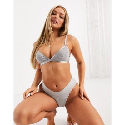 エイソス ASOS DESIGN レディース ブラジャーのみ インナー・下着 cotton rib & elastic triangle bra グレー