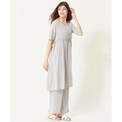 大きいサイズ  2点セット(シャーリングワンピース+イージーパンツ) ,スマイルランド, ワンピース, plus size dress
