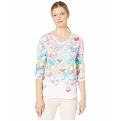 FDJフレンチドレッシングジーンズ レディース シャツ トップス Printed Smooth Jersey Cascading Hearts Printed V-Neck Top Multi