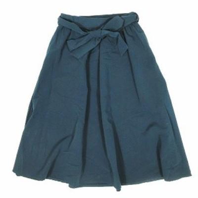 【中古】ビス ViS フレアスカート ミディアム丈 膝丈 サイズS 青緑系 ◎5 レディース