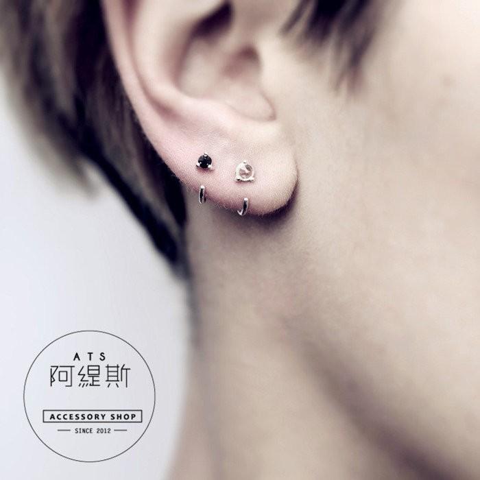 316L醫療鋼 C針抓鑲單鑽耳環 耳骨 小耳朵 單支價  阿緹斯 A82