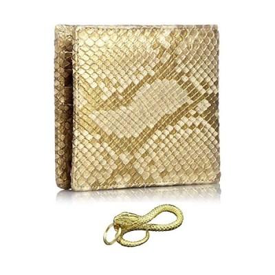ダイヤモンド パイソン 黄金 錦蛇 ニシキヘビ 本革 二つ折り 財布 金運 アップ レザー 日本製 (黄金蛇)