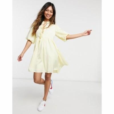 ワイ エー エス Y.A.S レディース ワンピース ミニ丈 ワンピース・ドレス tie front mini smock dress in yellow レモン