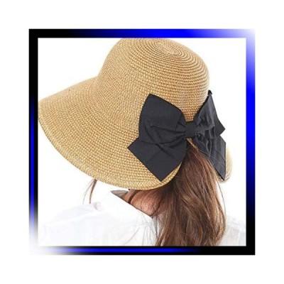 キャメル 髪を結んだままかぶれる帽子麦わら帽子 帽子 レディー
