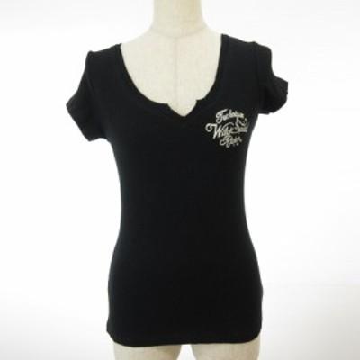 【中古】ガルラ GARULA カットソー Tシャツ 半袖 リブ ロゴ 黒 M 春夏 *E852 レディース