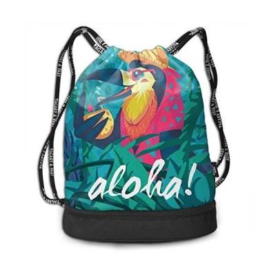 Tropical Bird Aloha Drawstring Backpack String Bag Gym Shopping Sport Yoga