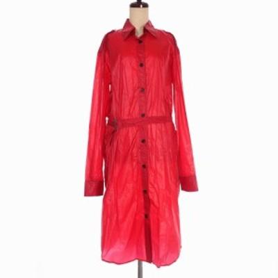 【中古】未使用品 アンドゥムルメステール 20SS ナイロンロングシャツ ワンピース 長袖 36 赤 レッド レディース