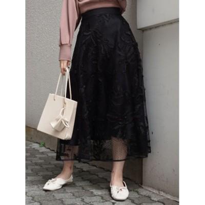 【マーキュリーデュオ/MERCURYDUO】 ドットチュール刺繍フレアスカート