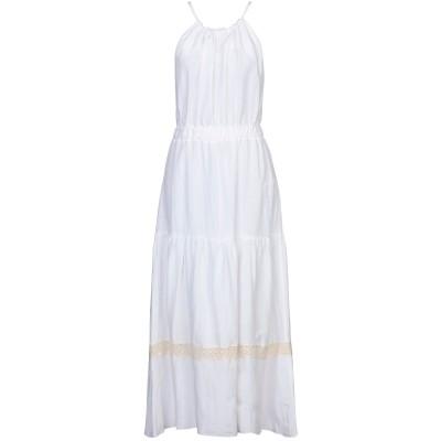 FLY GIRL ロングワンピース&ドレス ホワイト M レーヨン 60% / リネン 40% ロングワンピース&ドレス