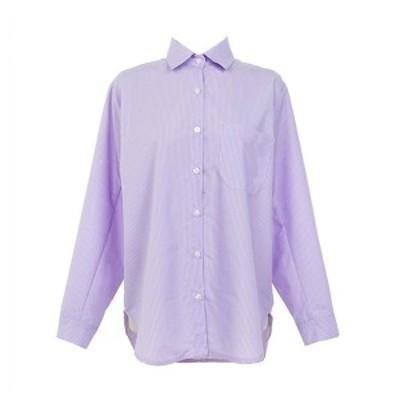 無地 パープル 襟付き シャツ 長袖