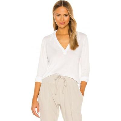 エルエーメイド LA Made レディース 長袖Tシャツ ヘンリーシャツ トップス Candace Long Sleeve Pullover Henley White