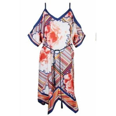 Rachel Roy レイチェルロイ ファッション ドレス Rachel Rachel Roy Blu Color Pesca Stampa Cold-Shoulder Tubino XS