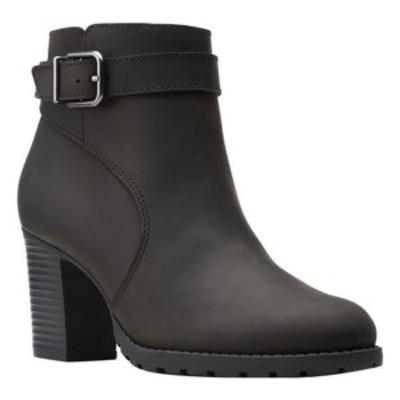 クラークス レディース ブーツ&レインブーツ シューズ Verona Lark Heeled Ankle Bootie Black Full Grain Leather