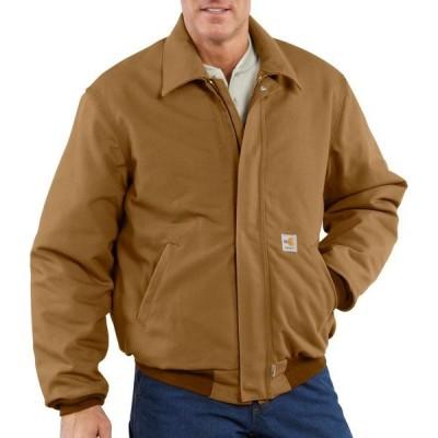 カーハート ジャケット&ブルゾン アウター メンズ Carhartt Men's Flame-Resistant Quilt-Lined Duck Bomber Jacket Brown