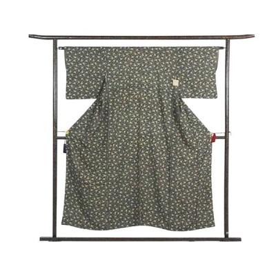 リサイクル着物 小紋 正絹黒地折り鶴柄袷小紋着物