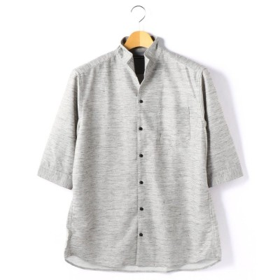 【ハイダウェイニコル】 <大きいサイズ>イタリアンカラー七分袖シ メンズ 29グレー 56(5L) HIDEAWAYS NICOLE