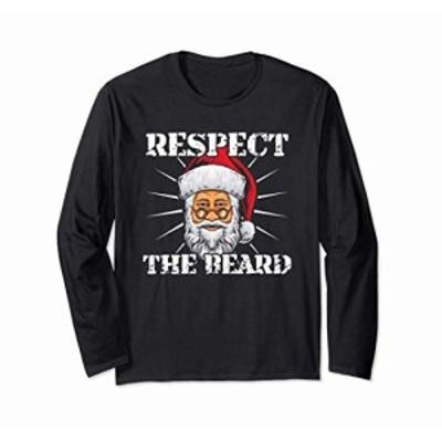あごひげを尊重する-サンタクロースのクリスマスクリスマス 長袖Tシャツ