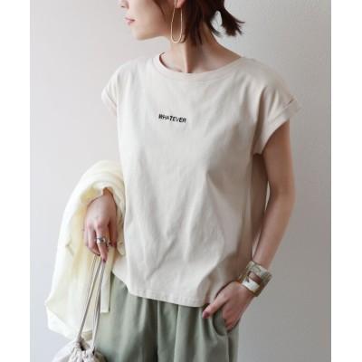 (and Me.../アンドミー)WHATEVERロゴ刺繍フレンチスリーブTシャツ/レディース ベージュ