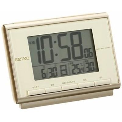 「配送無料」セイコー クロック 目覚まし時計 電波 デジタル カレンダー 温度 湿度 表示 薄ピンク ゴールド SQ698C SEIKO
