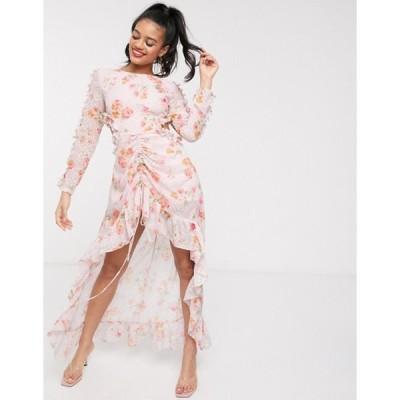 ダークピンク レディース ワンピース トップス Dark Pink high low maxi dress with cut out back in blush print