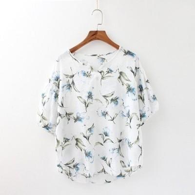 レディーストップスカットソー半袖花柄フローラルガーリー森ガールカジュアル可愛い通勤OLGoodClothes