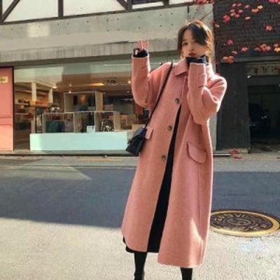 レディース ロングコート アウター 秋 冬 フェミニン おしゃれ デイリー オフィス ピンク ベージュ S M L XL サイズ 送料無料