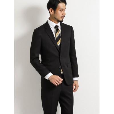 (TAKA-Q/タカキュー)ストレッチウォッシャブル 組織柄スリムフィット2ピーススーツ 黒/メンズ ブラック